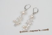 Spe429 Delightful 925Silver Cultured pearl & Crystal Pierce Earrings