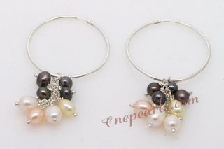 Spe433 New Design Sterling Silver Hoop Earrings with Cultured Pearl