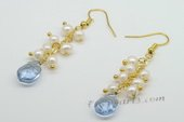 Spe435 Hand Crafted Cultured Pearls Gold Toned Dangle Earrings