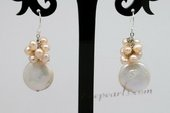 Spe436 Hand Crafted Large Coin Pearls Hook Dangle Earrings