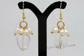 Spe437 Hand Crafted Gold toned Dnagle Earrings with Cultured Pearls& Crystal