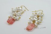 Spe438 Handmade Gold toned Hook Earrings with Keshi Pearl& Gemstone