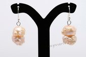 Spe440 Hand made 10-11mm Pink Nugget Pearl Dangle Earrings