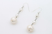 spe444 Natural White Freshwater Pearl Earring Drops