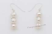 Spe448 6-7mm Potato pearl Sterling Silver Hook Dangle Earrings