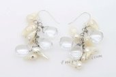Spe449 Sterling Silver White Pearl and White Crystal Cluster Earrings