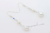 Spe451 Hand Wired Freshwater Pearl with Crystal Dangle Earrings