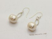 Spe456 Sterling Silver 11-12mm Large Potatot Pearl Dangle Earrings