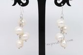 Spe457 9-10mm Large Nugget Pearl Dangle Earrings in Grape Design