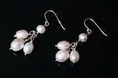 SPE460 Sterling Silver Cultured Freshwater Pearl Cluster Drop Earrings