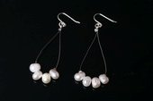 Spe462 Sterling Silver Cultured Freshwater Pearl Teardrop Wire Earrings