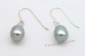Spe468 Large Grey Pearl Teardrop Earrings on Sterling Silver