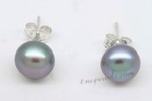 Spe469 Sterling Silver 8-8.5mm Grey button shaped freshwater pearl earrings