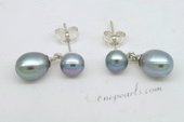 Spe470 Double Grey Freshwater Pearl Drop Earrings