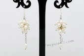 Spe471 White Rice Cluster Pearl Earrings with Silver Hook Drops