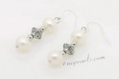 Spe474 Cultured Freshwater Pearl Sterling Silver Hook Dangle Earrings