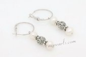 Spe479 Trendy Cultured Potaot Pearl Silver Toned Hoop Earrings