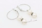 Spe480 Trendy Silver Toned Potato Pearl Hoop Earrings On Sale
