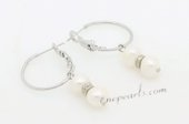 Spe481 Stylish Freshwater Potato Pearl  Silver Toned Hoop Earrings