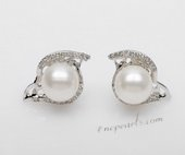 Spe493 Sterling Silver Freshwater Round Pearl and Cubic Zirconia Earrings