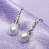 Spe497 Sterling Silver Freshwater Pearl with Cubic Zirconia Hook Dangle Earrings