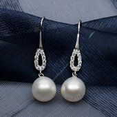 Spe498 Sterling Silver White FW Pearl and Cubic Zirconia Earrings