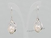 Spe502 Sterling Silver Round Pearl cage Dangle Earrings in Twist Design
