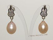 Spe523    Sterling Silver Violin Style Cultured Pearl and Cubic Zirconia Earrings