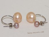 spe535 Freshwater Pearl Two Pearls Stud Sterling Silver Earring