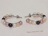 Spe544 Sterling Silver Freshwater Cultured Pearl C-Hoop Earrings
