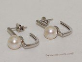 Spe545 Classic Sterling Silver   White Round Pearl Stud Earrings