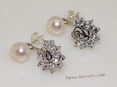 spe554 Sterling Silver Freshwater Pearl and Zircon Accent Earrings