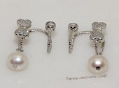 spe556  Sterling silver 8-9mm white round pearl  earrings cuffs