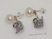 spe559  Sterling Silver Freshwater Pearl  Earrings With Swan Style Fitting