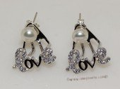 spe560  Sterling Silver Freshwater Pearl  Earrings With Love Character  Fitting