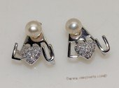 spe564  Sterling Silver Freshwater Pearl  Earrings With Love Style Fitting