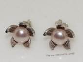 spe565 6-6.5mm purple color bread pearl sterling silver stud earrings