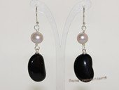 spe574 Purple potato pearl and Black Agate Silver Dangle Earring