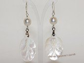 spe579  9-10mm white rice pearl earring with mother of pearl shell bead