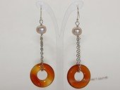 spe581 Cultured Freshwater  Pearl & Agate Dangle Pieced Earrings