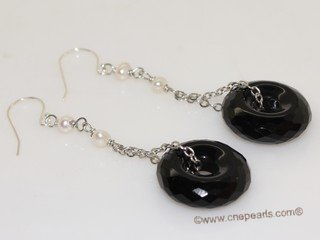 spe585 Cultured Freshwater  Pearl &  Black Agate Dangle Pieced Earrings