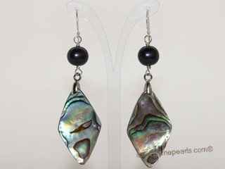 spe586 8-9mm  black potato  pearl earring with mother of pearl shell bead