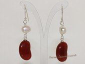 spe588 White Nugget Pearl and Red Agate Sterling Dangle Earring