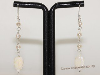 spe590 Hand Wired Freshwater Pearl with shell beads Sterling Earrings