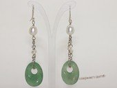 spe591 Sterling Silver Freshwater Pearl with Green Jade Dangle Earrings