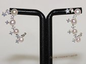 spe593  Freshwater Bread Pearl and Zircon Stud Earrings in Sterling Silver