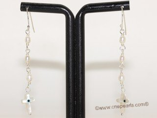 spe594  Hand Wired Freshwater Pearl with shell beads Sterling Earrings