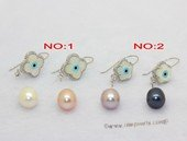 spe607 10-11mm white rice   pearl earring with shell bead