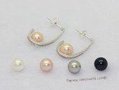 Spe609 Classic Sterling Silver White Round Pearl Stud Earrings