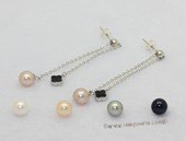 spe611  7-7.5mm white round pearl 925silver dangle earrings stud